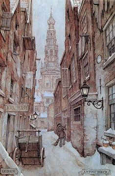 "Anton Pieck ""Leiden"" city in province of Zuid-Holland"