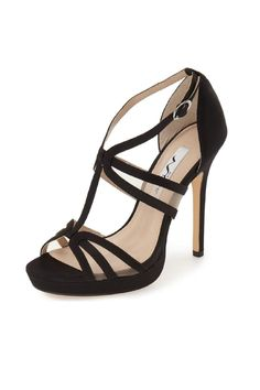 """Channel your flirty personality in this chic stiletto for any occasion. Show off your shoes and create the perfect evening look with a high low dress or tailored jacket and jeans. Almond toe sandal Adjustable ankle strap    Heel height:4.5"""";1/2"""" Platform   Fanetta Heel  by Nina. Shoes - Pumps & Heels New York #anklestrapsheelswithjeans #platformpumpsandjeans"""