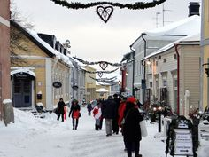 Porvoo during Christmas season Finland Christmas Holidays, Christmas Decorations, North Europe, Winter Time, Yule, Bucket, Decorating Ideas, Street View, Seasons