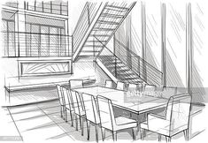 Vector illustration of interior design. In the style of drawing. Drawing Interior, Interior Design Sketches, Architect Drawing, Free Illustrations, Paint Designs, Still Image, Architecture, Layout, House Design
