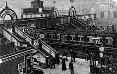The footbridge at Birminghan New Street station at the turn of the century, in around 1900 Birmingham News, Birmingham City Centre, Birmingham England, Old Train Station, Old Street, West Midlands, City Buildings, Old Town, Old Photos