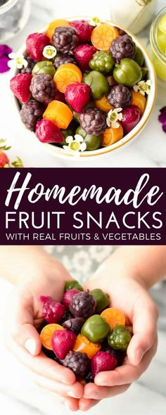 Homemade Fruit Snacks recipe made with whole fruits & vegetables! A healthy, high-protein snack loaded with nutrients made in the blender! #paleo #glutenfree #grainfree #dairyfree #refinedsugarfree #healthysnack #fruitsnacks #homemade #kidfriendly #snacktime via @joyfoodsunshine