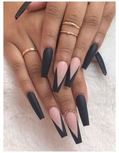 Acrylic Nail Designs Coffin, Black Acrylic Nails, Summer Acrylic Nails, Best Acrylic Nails, Coffin Acrylics, Coffin Nails Designs Kylie Jenner, Long Black Nails, Acrylic Nails Designs Short, Black And Nude Nails