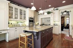 Traditional White Kitchen Cabinets  (Kitchen-Design-Ideas.org) My wild granite with a great backsplash behind stove!!!!!! Doable..