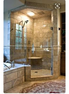 Stone tiled modern rustic bathroom