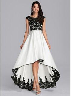 A-Line Scoop Neck Asymmetrical Satin Evening Dress - Evening Dresses - JJ's House Stylish Dresses, Elegant Dresses, Pretty Dresses, Fashion Dresses, Indian Gowns Dresses, Prom Dresses, Formal Dresses, Flapper Dresses, Evening Dresses For Weddings