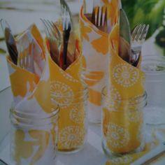 Mason Jar Cutlery Caddies~~Cute For A Summer Picnic~~