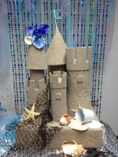 Sand Castle made from Cardboard by Tied With A Bow Vbs Themes, Beach Themes, Crafts To Make, Crafts For Kids, Diy Crafts, Odyssey Of The Mind, Homecoming Floats, End Of Year Party, Prom Decor