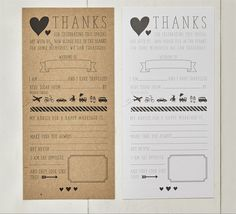 Wedding ice breaker cards for the reception tables