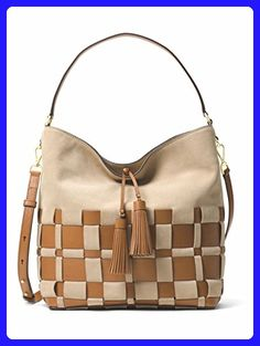 8e59025a9164 MICHAEL MICHAEL KORS Vivian Large Woven Suede And Leather Hobo  (Shell Acorn) -