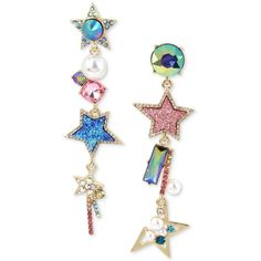 Betsey Johnson Gold-Tone Multi-Stone, Star & Imitation Pearl Mismatch... (205 RON) ❤ liked on Polyvore featuring jewelry, earrings, accessories, multi, faux pearl drop earrings, star jewelry, gold colored earrings, betsey johnson jewelry and fake pearl earrings
