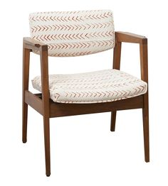e8a062157abe Mid Century Side Chairs. Beautiful floating seat reupholstered in orange  stamped handwoven cotton with self