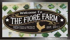 Chicken Farm Fresh Eggs Free Range Chicks Ranch Country Store Family Name Custom…