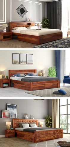 Buying a king Size Bed is a versatile addition to every bedroom, whether you're planning to replace your traditional furniture or primarily selecting it for your new bedroom. Unlike, the queen sized beds, this incredibly enormous and beautiful wooden king size bed furniture creates a room for a comfortable and relaxed sleep. The design and structure of these solid wood king size beds are precisely crafted by our design experts to provide you the amenities required while resting and sleeping. Buy King Size Bed, Wooden King Size Bed, Beds Online, Traditional Furniture, Queen Size Bedding, Bed Storage, Bedroom Furniture, Solid Wood, Relax
