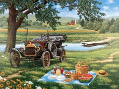 One Fine Day  JohnSloaneArt.com - John Sloane - Gallery - Antique Cars and Trucks