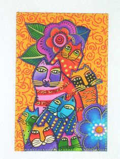 CATS Laurel Burch Style Quilted Postcard  CATS