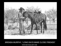 "Western Art by Brenda Murphy, ""Long Days Make Close Friends"" Western Theme, Western Art, Cowboy Artwork, Close Friends, Charcoal Drawing, Pencil Art, Old Houses, Westerns, Art Gallery"