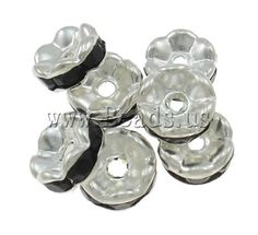 Brass Spacer Beads, Flower, silver color plated, with rhinestone, black, nickel, lead & cadmium free, 7x3mm,china wholesale jewelry beads***100=1,26