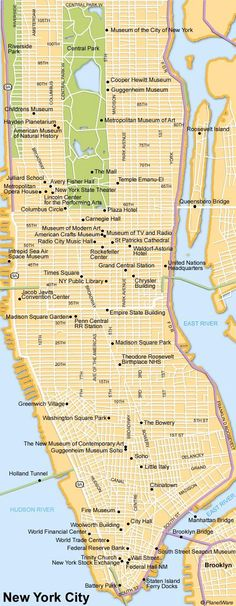 Map of New York City Attractions | PlanetWare: