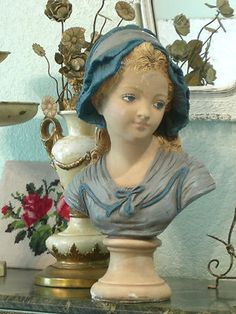 ~*LUSCIOUS sHaBbY FRENCH COUNTRY MAIDEN BUST STATUE!~CHIC BLUE COLOR~BLUE EYES*~