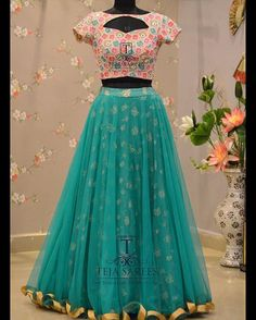 TS - 173 - OCT Available For queries/ price details Whats App us on 8341382382 Reach us on 8790382382 or please mail us at… Lehenga Saree Design, Half Saree Lehenga, Lehnga Dress, Lehenga Designs, Frock Dress, Lehenga Blouse, Indian Designer Outfits, Designer Dresses, Indian Outfits