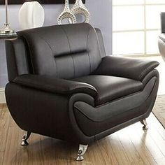 For the comfort and also the value, this Arm Chair Modern Living Room Black Faux Leather Medium Firm should be a part of your living room decor. It is well designed, uses upgraded materials, modern design and gives you a complete look for your decor. Sectional Living Room Sets, Sectional Sofa With Recliner, Living Room Sofa Design, Living Room Chairs, Living Room Furniture, Drawing Room Furniture, Furniture Sofa Set, Ashley Furniture Chairs, Furniture Decor
