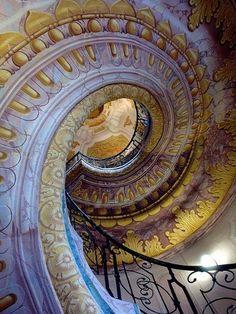 Beautiful spiral staircase at Melk Abbey, Austria by debreczeniemoke.
