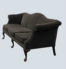 Antique Queen Anne Solid Mahogany Loveseat With Red Velvet