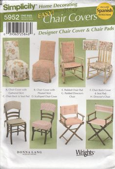 Easy Chair Pad Pattern Rocking Chair, Directors Chair and Chair Cover Uncut Simplicity 5952 by PrettyfulPatterns on Etsy
