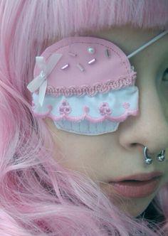 .cupcake eye patch, candy pirate, pink hair, anime, harajuku, nose ring, punk, Japanese, cosplay