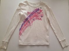 Gap Kids Girl Size 10 Fitted Shirt Dreams Come True Pink Purple Glitter Graphics