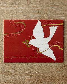 Peace Dove Holiday Greeting Cards by Carlson Craft at Horchow.