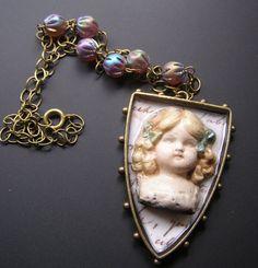 Raku Doll Head Necklace, Victorian Doll Pendant, Vintage Purple Bead Necklace, Unique Eclectic Jewelry, Charlotte
