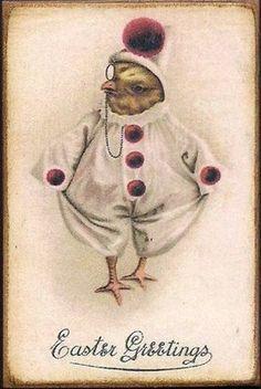 Vintage Easter postcard ~ anthropomorphic Chick in Clown Costume. Easter Art, Hoppy Easter, Easter Chick, Vintage Easter, Vintage Holiday, Vintage Cards, Vintage Postcards, Vintage Images, Old Greeting Cards