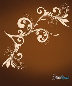Vinyl Wall Decal Sticker Swirl Floral #620 | Stickerbrand wall art decals, wall graphics and wall murals.