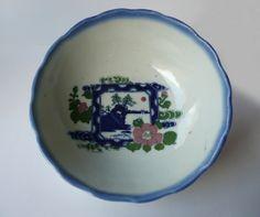 Japanese vintage porcelain bowl - camellia, sea shore landscape - WhatsForPudding