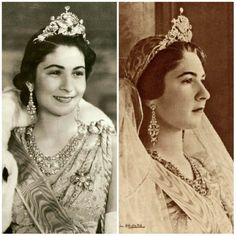 Queen Farida of Egypt, the first wife of King Farouk, wearing the Peacock Tiara