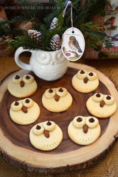 Quick & Easy Owl Sugar Cookies, a hoot to make! using a fork & jar Owl Sugar Cookies, Pink Cookies, Holiday Treats, Holiday Recipes, Owl Food, Cookie Recipes, Dessert Recipes, Christmas Entertaining, Snacks