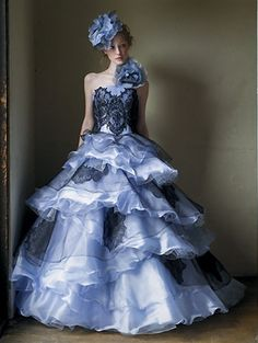 Spiral Layers of Blue gown, $779.00 (http://www.weddingdressfantasy.com/blue-wedding-dress-available-in-every-color-25/)