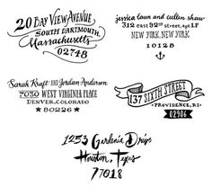 Ladyfingers Letterpress Hand Lettered Custom Return Address Stamps ---Also, creative way to display house number? ----