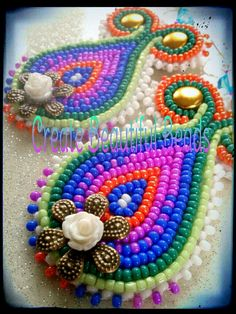 """""""The Tide that Binds""""  beaded earrings by Create Beautiful Beads on facebook"""