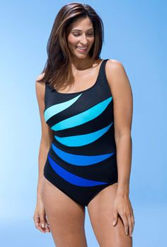adc80fe780 Shop by Style - Longitude Blue Leaf Tank Swimsuit Plus Size Swimwear