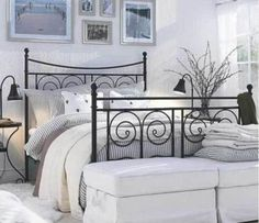 Black metal bed frame