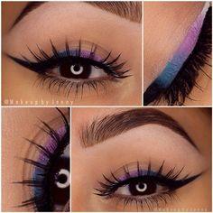 Purple, blue and black eyeliner