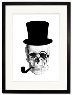 A Gentleman's Skull Series by PrintedandStitched on Etsy, £35.00