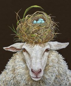 Buy 'Judith the Sheep with nest' by Vicki Sawyer as a Throw Pillow, Tote Bag, iPad Case/Skin, or Spiral Notebook Sheep Paintings, Animal Paintings, Illustrations, Illustration Art, Farm Animals, Cute Animals, Wooly Bully, Sheep Art, Sheep And Lamb