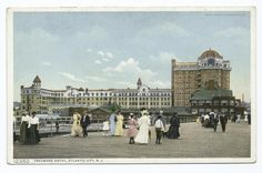 This old postcard shows the Traymore tower by the boardwalk, built in Vintage Hotels, Gone For Good, Atlantic City, Vintage Postcards, Dolores Park, The Past, Louvre, Tower, Lost