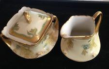 Porcelana Antigo Limoges mão pintada de ouro Bawo & dotter Creme Açucareiro Conjunto