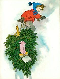 Lotta's Christmas Surprise by Astrid Lindgren Winter Illustration, Children's Book Illustration, Character Illustration, Astrid Lingren, Pippi Longstocking, Christmas Crafts, Xmas, Childhood Memories, Childrens Books