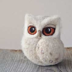 needle felted white OWL sculpture -  soft sculpture - felted owl southern white-faced owl - beige  needle felted owl - felted baby owl - uk
